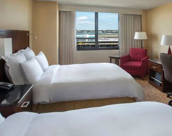 Double room at the New York LaGuardia Airport Marriott